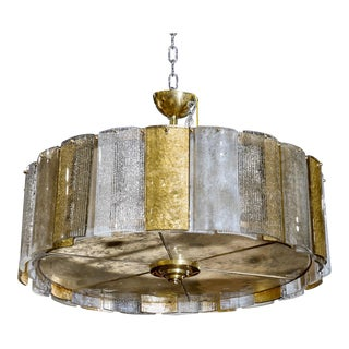 Large Murano Hanging Drum Shaped Light Fixture with Gold and Clear Glass Panels