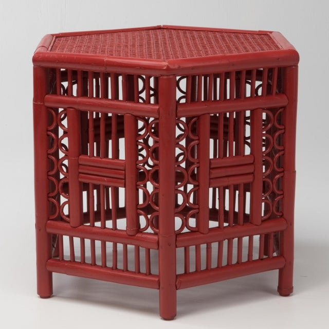 Chinoiserie 1970s Chinoiserie Hexagonal Bamboo Coffee Side Table For Sale - Image 3 of 12