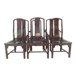 Vintage Henredon Dining Chairs Set-6 Solid Wood Asian Style W/Caned Seats For Sale