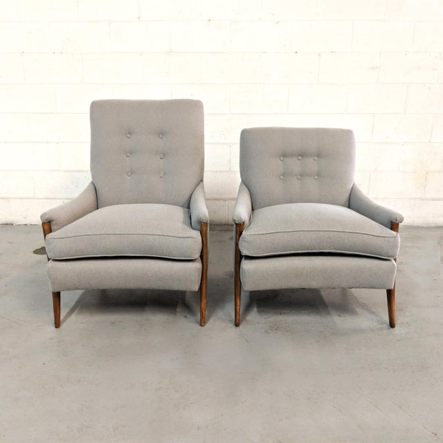 Available for purchase is a pair of newly restored Mid Century Modern style lounge chairs from Kroehler Furniture. Label...