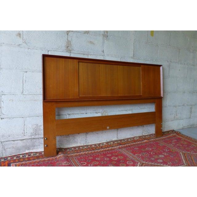 Mid Century Modern teak REVERSIBLE QUEEN or FULL headboard. This Danish teak frame has stunning wood grains and the center...
