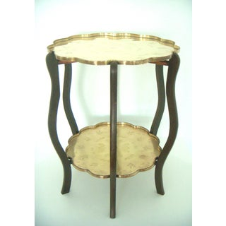 Folding Vintage Chinese Two Tier Engraved Brass Side Tray Table With Good Fortune Bats Preview