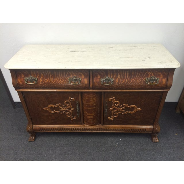 Tiger Maple Marble-Top Buffet with Claw Feet - Image 3 of 9