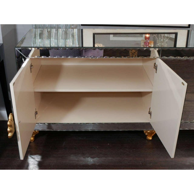 1970s Mirrored Buffet with Pie Crust Beveled Edges and Gold Leaf Hardware For Sale - Image 5 of 8