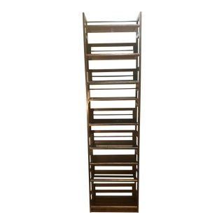 3 Tier Cane and Wood Shelving Unit For Sale