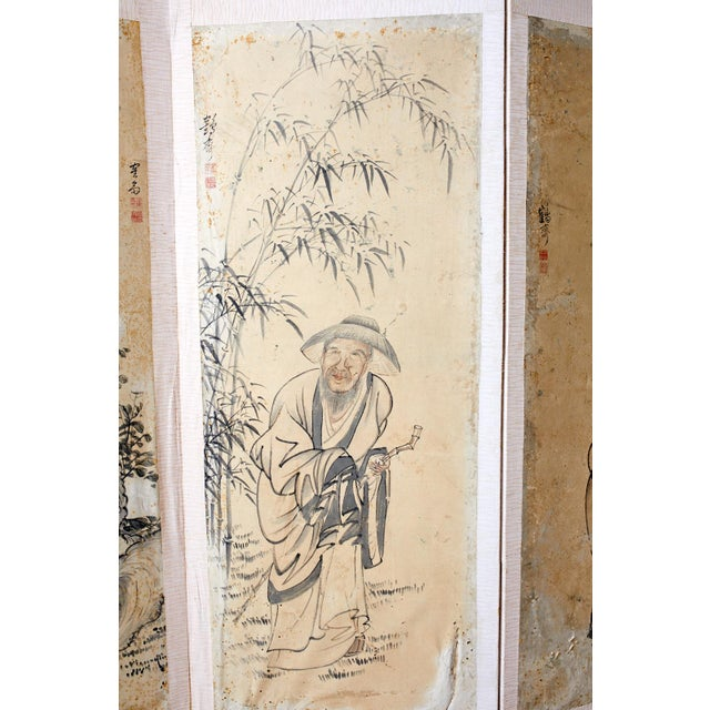 Korean Six-Panel Screen of Legendary Chinese Figures For Sale - Image 4 of 13