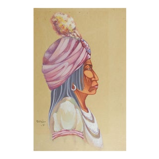 Danny Kaler Native American Portrait Painting For Sale