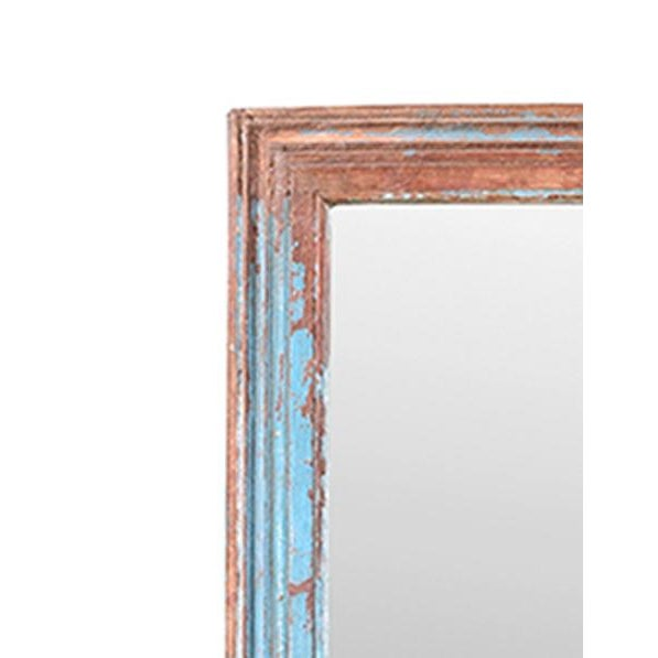 This painted turquoise mirror is made from vintage moulding. The unique turquoise paint has a beautiful patina.