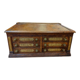 Antique Early American Sewing/Spool Cabinet With Spools For Sale