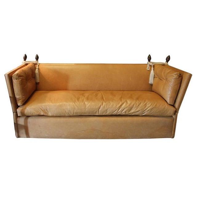 Awesome Knole Style Cognac Leather High Back Sofa Chairish Creativecarmelina Interior Chair Design Creativecarmelinacom