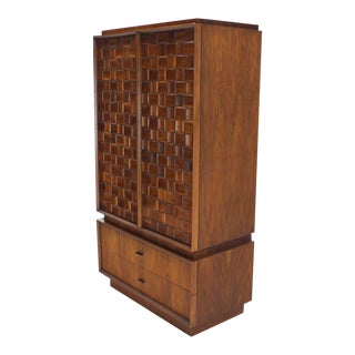 Mid-Century Modern Oiled Walnut Carved Patch Work Chifforobe For Sale