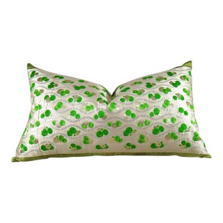 Modern Green & White Floral Japanese Silk Obi Pillow Cover For Sale