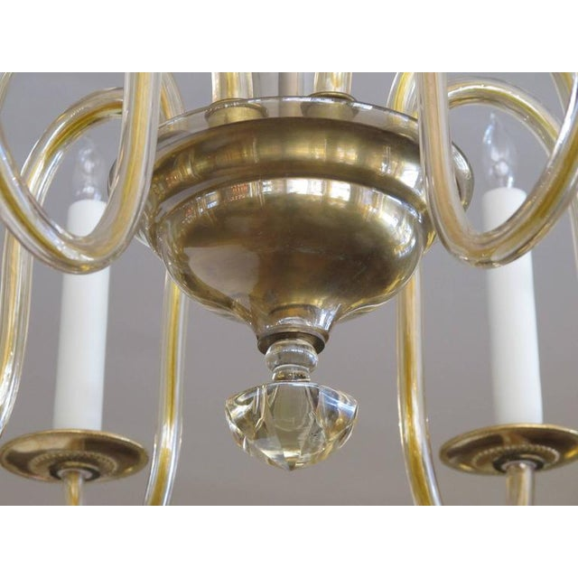 Shapely Murano 1950s Pale Gold Glass Eight-Light Chandelier - Image 5 of 5