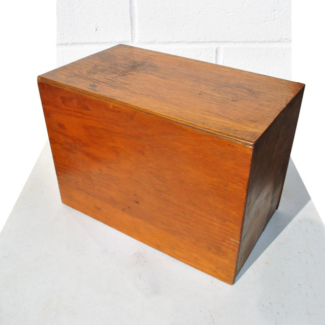 1960s 1960s Industrial 2 Drawer Table Top Wooden Card File For Sale - Image 5 of 7