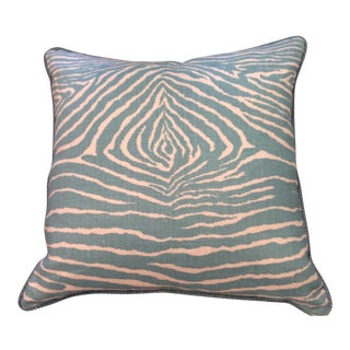 French Brunschweig & Fils Aqua Zebra Pillow For Sale
