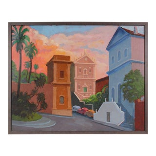 "Gerald Wasserman ""A Corner in Rome"" Sunset Cityscape For Sale"