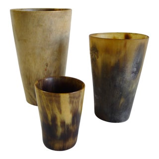 Antique Scottish Cow Horn Cups - Set of 3 For Sale