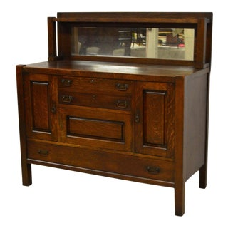 Stickley Brothers Quartwesawn Oak Mission Mirrored Sideboard For Sale