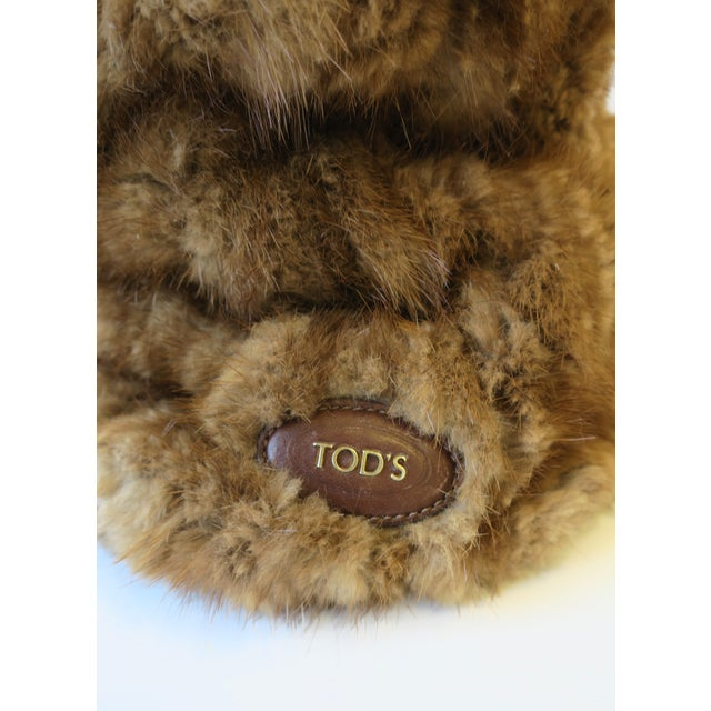 Tod's Brown Leather, Mink and Brass Handbag For Sale - Image 10 of 13