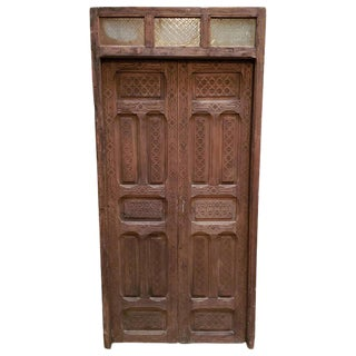 1960s Vintage Dark Brown Moroccan Wooden Door For Sale