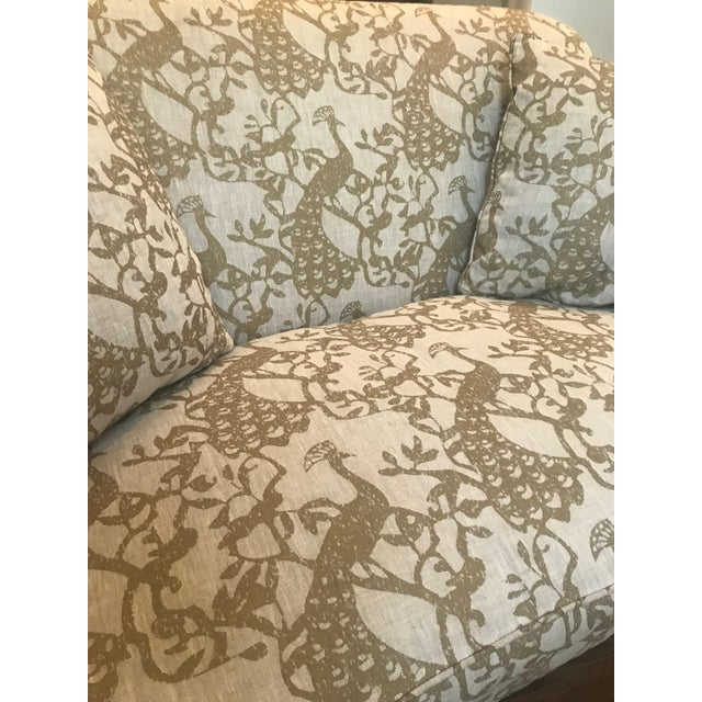 Traditional Lee Industries Taupe Peacock Print Loveseat For Sale In Denver - Image 6 of 9