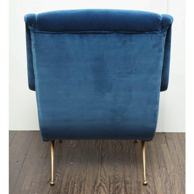 Blue Pair of Parisi Vintage Italian Club Chairs Upholstered in Teal Blue Velvet For Sale - Image 8 of 9