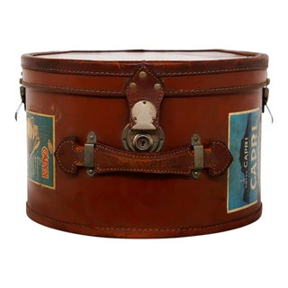 Italian Leather Hatbox With Steel Inserts and Period Stickers. 1930s For Sale