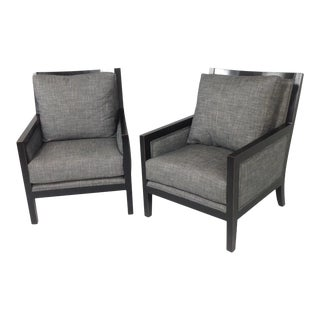 Modern Robert Allen Chenille Lounge Chairs - a Pair For Sale