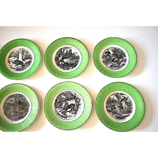Ceramic Antique French Digoin & Sarreguemines Hunting Scenes Plates - Set of 12 For Sale - Image 7 of 13