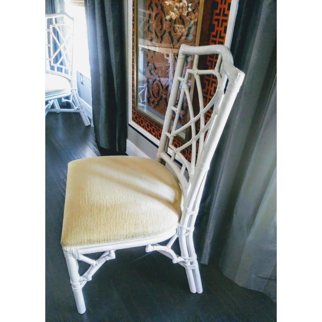 Thomasville Set of 4 Palm Beach Regency White Chippendale Fret Work Dining Room Chairs For Sale - Image 4 of 8