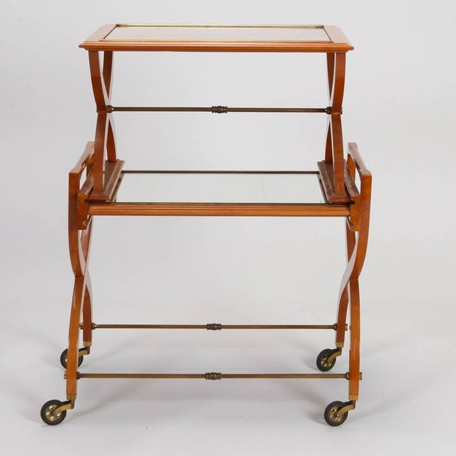 French Mid-Century Serving Trolley & Coordinating Self Storing Table - Image 3 of 11
