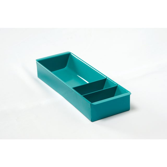 Metal Steel Tanker Drawer Insert Repurposed as Desktop Organizer, Refinished in Turquoise For Sale - Image 7 of 7