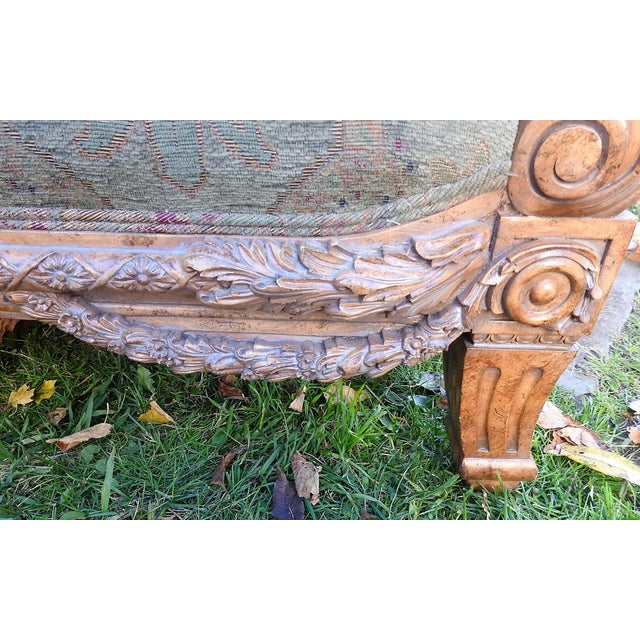 Walter E. Smithe Carved Wood Sofa For Sale - Image 10 of 11