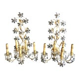 Image of 1940s Vintage Five-Arm Italian Floral Crystal Wall Sconces - a Pair For Sale