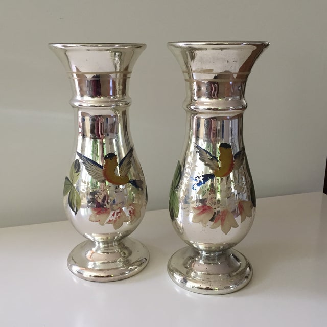 Antique Mercury Glass Vases - A Pair - Image 5 of 5