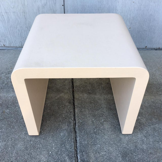 Tan Modernist Waterfall Lacquered Linen Console and Side Table For Sale - Image 8 of 12