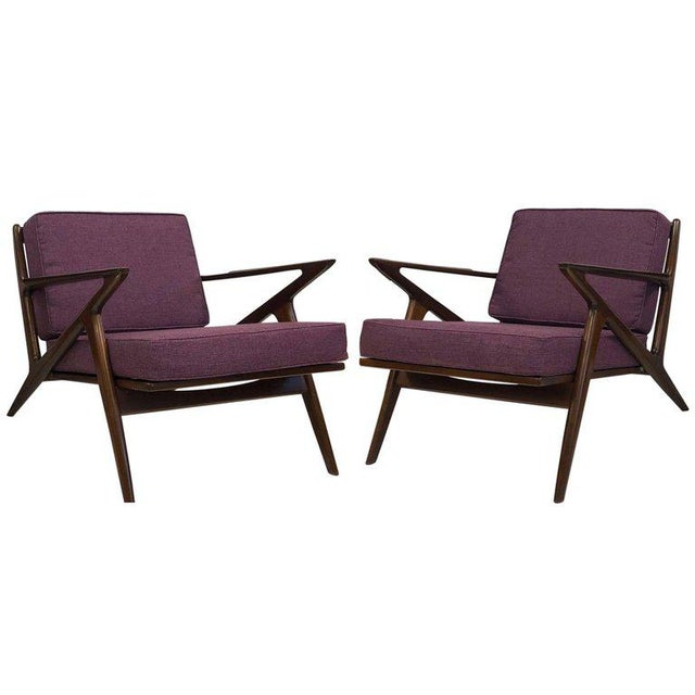 Textile Pair of Z Lounge Chairs by Poul Jensen for Selig For Sale - Image 7 of 7