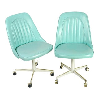 Pair of Vintage Mid-Century Modern Robins Egg Blue Vinyl Rolling Chairs For Sale