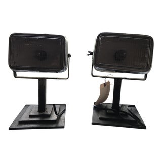 Industrial Steel Table Lamps - a Pair For Sale
