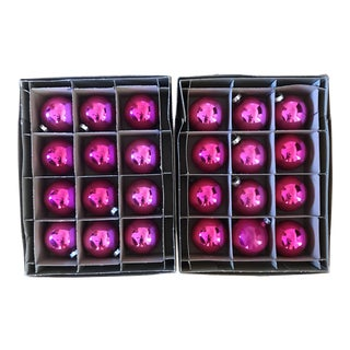 Vintage Dark Pink Coby Glass Christmas Ornament Set of 12 For Sale