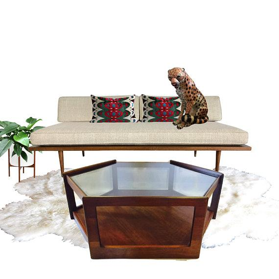Mid Century Modern Walnut Coffee Table Tier Hexagon With Smoky - Hexagon cocktail table