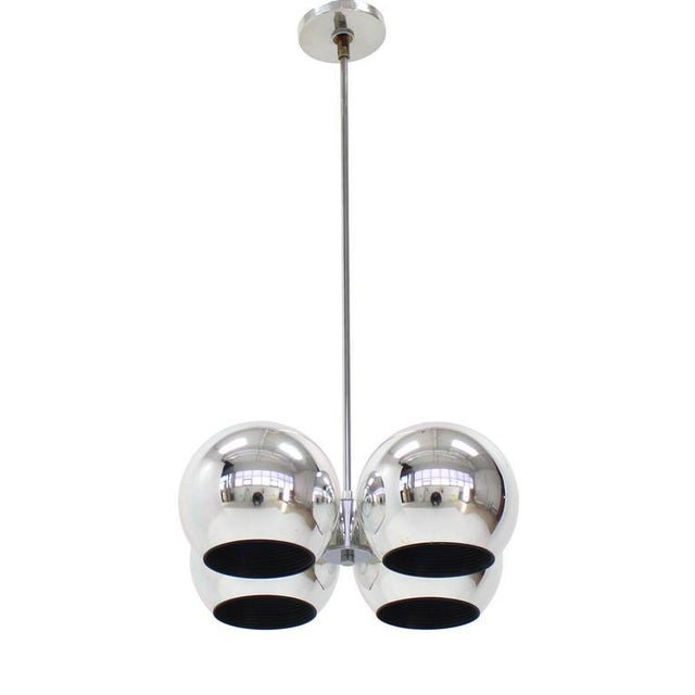 Very nice cluster of four chrome globes Mid-Century Modern light fixture.