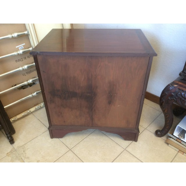 Classic Mahogany Two Door Cabinet With Handles For Sale - Image 4 of 10