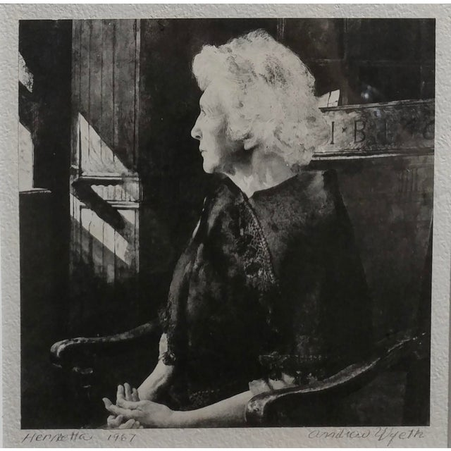 Figurative Andrew Wyeth -Portrait of Henrietta Original 1967 Etching For Sale - Image 3 of 8