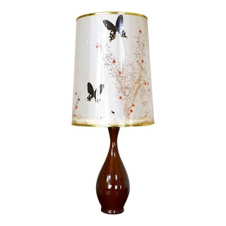 Van Briggle Pottery Lamp With Butterfly Lamp Shade For Sale
