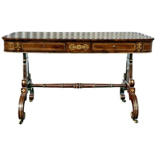 Regency Rosewood and Brass Inlaid Writing Table For Sale