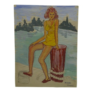 "1947 Mid-Century Modern Original Drawing on Paper, ""Yellow Bathing Suit"" by Tom Sturges Jr"