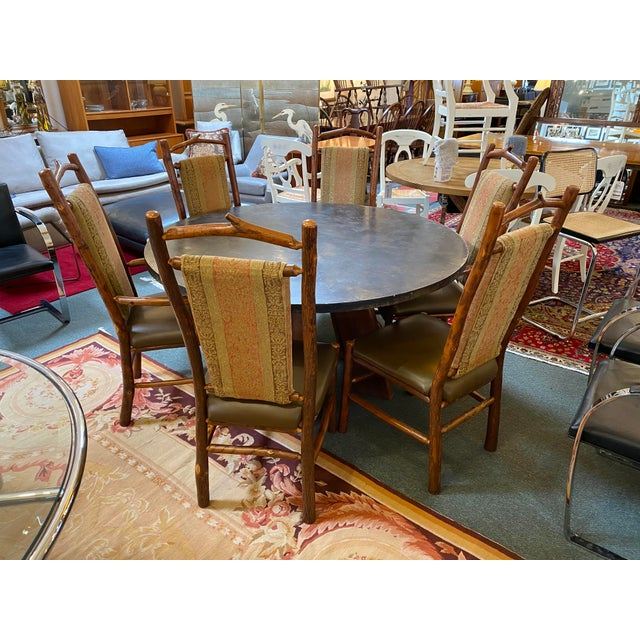 Custom Round Cement + Teak Dining Table + Six Hickory Wood Chairs- a Set For Sale - Image 13 of 13