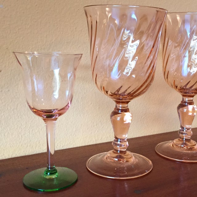Art Deco Pink Glass Stemware - Set of 5 - Image 7 of 10
