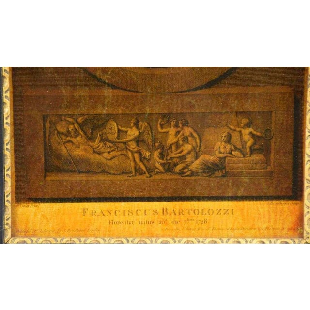 French I. Bouillard (19th Century) Franciscus Bartolizzi Reverse Painting on Glass For Sale - Image 3 of 7